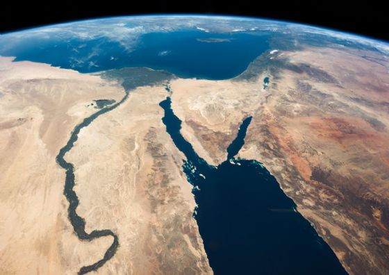 The Nile River, Egypt, Sinai Peninsula, Israel. Satellite Map Image Print/Poster (5471)